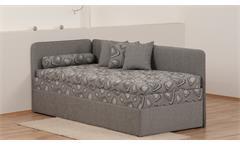 Polsterliege SENTINO in grau Bonell-Federkern mit Bettkasten 90x200 cm
