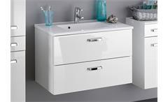 Waschtisch Bologna Unterschrank 80 Badmöbel Badezimmer weiß Hochglanz Softclose