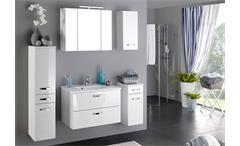Spiegelschrank Bologna 80 cm Schrank Badmöbel Badezimmer weiß mit Aufbauleuchte