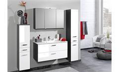 Midischrank Bologna Schrank Badmöbel Badezimmer grau weiß Hochglanz Softclose