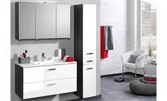 Hochschrank Bologna Schrank Badmöbel Badezimmer grau weiß Hochglanz Softclose