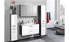 Waschtisch Bologna Unterschrank 90 Badmöbel Badezimmer grau und weiß Hochglanz