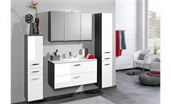 Spiegelschrank Bologna 90 cm Schrank Badmöbel Badezimmer grau mit Aufbauleuchte
