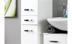 Hochschrank Bologna Schrank Badmöbel Badezimmer weiß Hochglanz Softclose