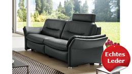 3-Sitzer SF1520 Sofa Couch Polstersofa Sitzmöbel Echtleder schwarz 222 cm Hukla