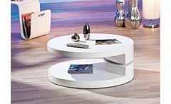 Couchtisch MOGLY Beistelltisch Tisch weiß hochglanz drehbar