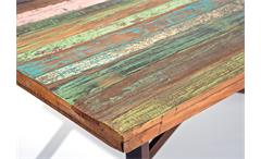 Esstisch Colori Esstisch Tisch Mango massiv Metall Rost-Look Vintage 160