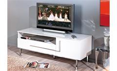TV-Kommode Deltino 3 Lowboard TV-Board in MDF weiß Hochglanz und Chrom