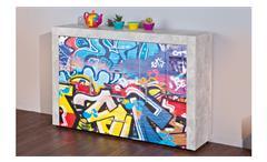 Kommode Beton Sideboard in hellgrau grau mit Graffiti-Motiv bedruckt 2-türig