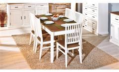 Tischgruppe Cassala Essgruppe in Kiefer Buche massiv altweiß sepiabraun lackiert