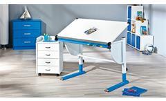 Kinder-Schreibtisch Cetrix Kinderzimmer Tisch in weiß und Metall blau lackiert