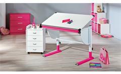 Kinder-Schreibtisch Cetrix Kinderzimmer Tisch in weiß und Metall pink lackiert