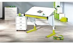 Kinder-Schreibtisch Cetrix Kinderzimmer Tisch in weiß und Metall grün lackiert