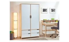 Kleiderschrank GUDJAM 2-trg MDF weiß lackiert Massivholz natur 200 cm