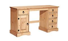 Schreibtisch Corona Büro Tisch in Pinie massiv und honigfarben gewachst