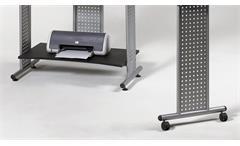Computertisch Twin Schreibtisch schwarz mit Tastaturauszug und Rollen 120-170 cm