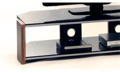 TV-Board Orlando TV-Rack XXL in Walnuss und Schwarzglas mit Metallrahmen 140 cm