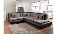 Ecksofa CLUB VI Wohnlandschaft Sofa in schwarz mit Webstoff