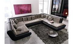 Wohnlandschaft CLUB VIII Sofa in schwarz mit Webstoff