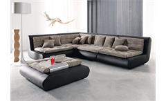 Ecksofa CLUB XI Wohnlandschaft Sofa in schwarz mit Webstoff
