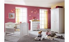 Babyzimmer Set Cinderella Premium 4 teilig Kleiderschrank Kinderbett Wickelkommode Kiefer weiß lacki
