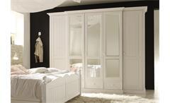 Kleiderschrank 5-türig Cinderella Premium Schlafzimmer Kiefer teilmassiv weiß lackiert