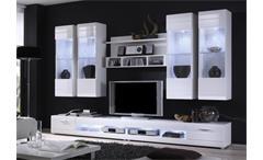 Wohnwand Carero 7 Wohnzimmer Anbauwand Front in weiß hochglanz