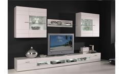Wohnwand Carero 4 Wohnzimmer Anbauwand großes TV Board Front in weiß hochglanz