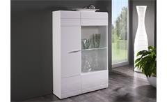 Vitrine links Carero kleiner Wohnzimmer Schrank weiß hochglanz mit Glas