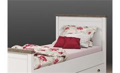 Bett Chateau Einzelbett Kinderzimmerbett weiß San Remo Eiche 90x200