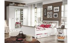 Schlafzimmer Chateau Schlafzimmerset Schrank Bett Nako  weiß San Remo Eiche