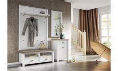 Garderobe 2 Chateau Paneel Kommode Spiegel in weiß und San Remo Eiche