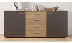 Sideboard Arax Kommode Schrank Anrichte in grau und Stone Oak Eiche