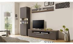 Wohnwand 1 Arax Anbauwand Wohnkombi Wohnzimmer in grau und Stone Oak Eiche