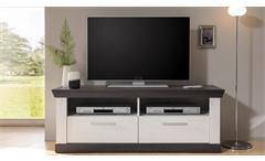 Lowboard Tiena TV-Board Fernsehschrank Unterschrank in Pinie weiß Wenge Haptik