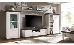 Lowboard Tiena Fernsehschrank TV-Board Unterschrank in Pinie weiß Wenge Haptik