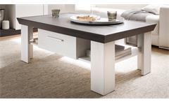 Couchtisch Tiena Beistelltisch Tisch Wohnzimmertisch Pinie weiß und Wenge Haptik