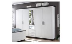 Kleiderschrank Tiena Schrank Schlafzimmer in Pinie weiß und Wenge Haptik