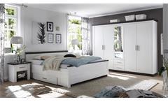 Schlafzimmer Tiena Schrank Bett Nachtkommode in Pinie weiß Wenge Haptik