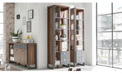 Vitrine DETROIT Schrank Stirling Oak und Matera anthrazit