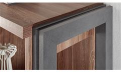 Vitrine Detroit Stirling Oak und Matera Glasvitrine Highboard Wohnzimmer Schrank