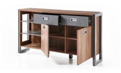 Sideboard Detroit Stirling Oak und anthrazit Kommode Wohnzimmer Schrank