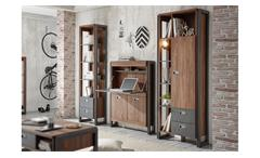 Wohnwand Home Office DETROIT Stirling Oak und Matera anthrazit