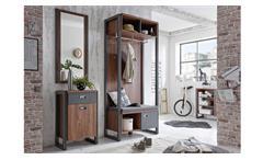 Garderobe Detroit Kleiderhaken Flurmöbel in Stirling Oak anthrazit mit Spiegel