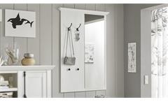 Garderobenpaneel Westerland Wandpaneel mit Spiegel Pinie weiß Kleiderhaken Flur