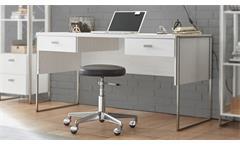Schreibtisch FRAMES Computertisch in Pinie weiß und Metall