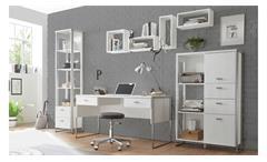 Wohnwand Home Office FRAMES Bürokombination in Pinie weiß und Metall