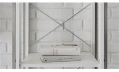 Wohnwand Frames 1 Anbauwand Wohnzimmermöbel Schränke in Pinie weiß und Metall