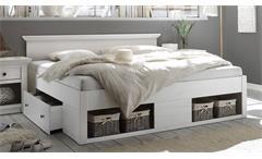 Bett Westerland Doppelbett Bettgestell für Schlafzimmer in Pinie weiß 180x200
