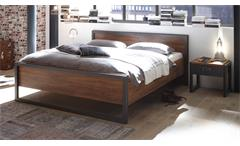 Bett DETROIT Bettgestell in Stirling Oak und Matera anthrazit 180x200